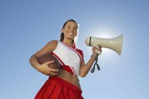 Cheerleader with bullhorn